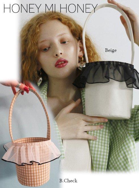 Honey mi Honey (ハニーミーハニー)<br>organdie frill bucket bag  20春夏【20S-TA-12】ハンド・ショルダーバッグ   20es