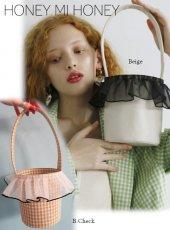 Honey mi Honey (ハニーミーハニー)<br>organdie frill bucket bag  20春夏【20S-TA-12】ハンド・ショルダーバッグ