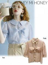 Honey mi Honey (ハニーミーハニー)<br>organdie ribbon blouse  20春夏予約【20S-TA-14】シャツ・ブラウス