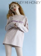 Honey mi Honey (ハニーミーハニー)<br>『ATTRACTIVE』longT-shirt  20春夏予約【20S-VG-08】Tシャツ