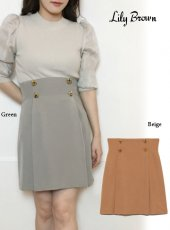Lily Brown (リリーブラウン)<br>フロントボタンミニスカート  20春夏【LWFS201030】フレアスカート