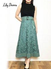 Lily Brown (リリーブラウン)<br>裾切り替えレーススカート  20春夏【LWFS201112】フレアスカート