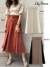 Lily Brown (リリーブラウン)<br>異素材切替プリーツスカート  20春夏【LWFS201074】フレアスカート