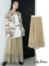 Lily Brown (リリーブラウン)<br>バリエーションシースルースカート  20春夏予約【LWFS201089】ロング・マキシスカート