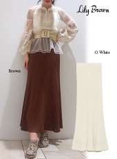 Lily Brown (リリーブラウン)<br>透かし柄編みニットスカート  20春夏予約【LWNS201057】タイトスカート