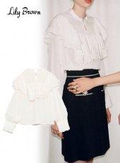 Lily Brown (リリーブラウン)<br>ボリュームラッフルブラウス  20春夏【LWFB201084】シャツ・ブラウス