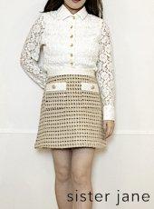 sister jane (シスタージェーン)<br>Bird Song Tweed Mini Skirt  20春夏予約【21SJ01SK347YLW】タイトスカート