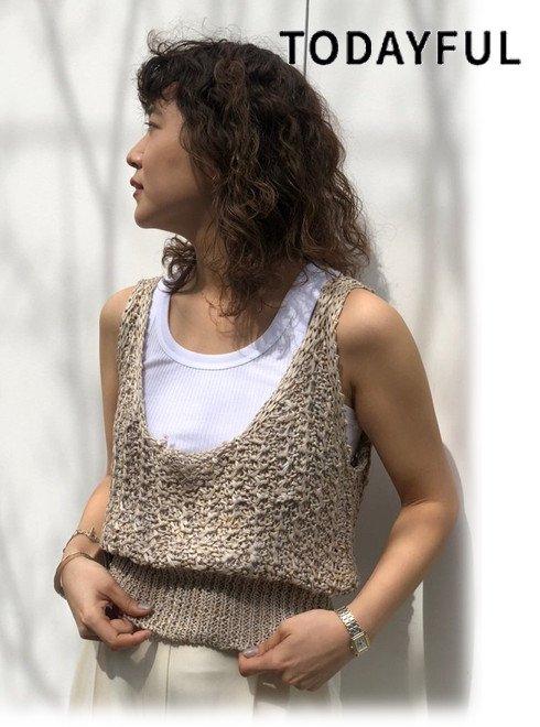 TODAYFUL (トゥデイフル)<br>Linen Knit Bustier  21春夏.予約2【12010525】キャミソール・ベアトップ・ビスチェ   入荷時期;6月
