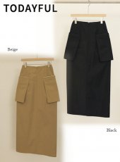 TODAYFUL (トゥデイフル)<br>Pocket Pleats Skirt  20春夏.予約【12010813】タイトスカート  受注会