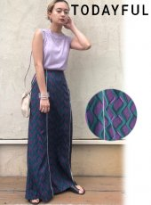 TODAYFUL (トゥデイフル)<br>Geometric Piping Skirt  20春夏.【12010811】フレアスカート