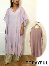 TODAYFUL (トゥデイフル)<br>Piping Caftan Dress  20春夏.【12010329】マキシワンピース