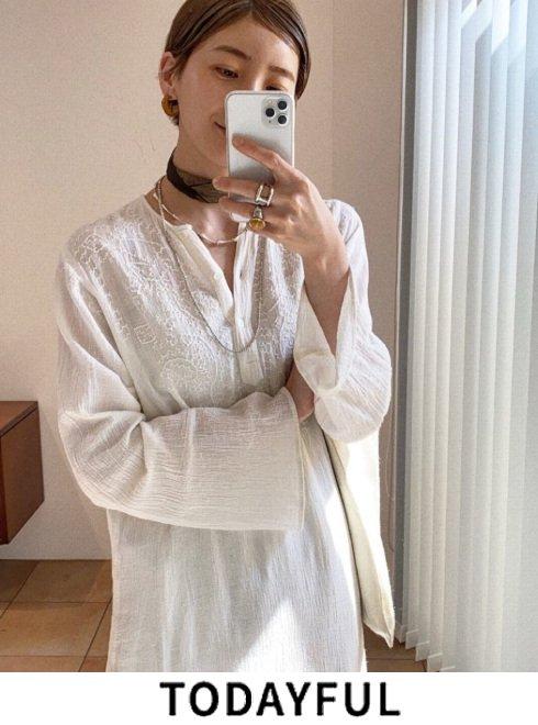 TODAYFUL (トゥデイフル)<br>Embroidery Gauze Dress  20秋冬2【12010322】マキシワンピース