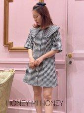 Honey mi Honey (ハニーミーハニー)<br>ginghamcheck blouse one-piece  20春夏.予約【20S-TA-16】シャツ・ブラウス