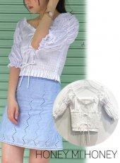 Honey mi Honey (ハニーミーハニー)<br>cotton puffsleeve blouse  20春夏.【20S-TA-45】シャツ・ブラウス