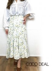 COCODEAL (ココディール)<br>グロッシーサテンフラワープリントスカート  20春夏.【70317312】フレアスカート