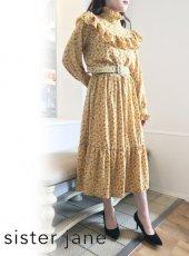 sister jane (シスタージェーン)<br>Prickly Pear Belted Midi Dress  20春夏.【21SJ03DR1228YLW】フレアワンピース