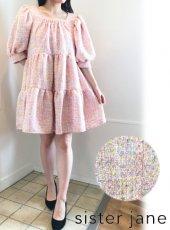 sister jane (シスタージェーン)<br>Confetti Tweed Mini Dress  20春夏.【21SJ03DR1240PNK】フレアワンピース