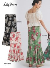 Lily Brown (リリーブラウン)<br>紫陽花柄マーメイドスカート  20春夏.【LWFS202094】フレアスカート
