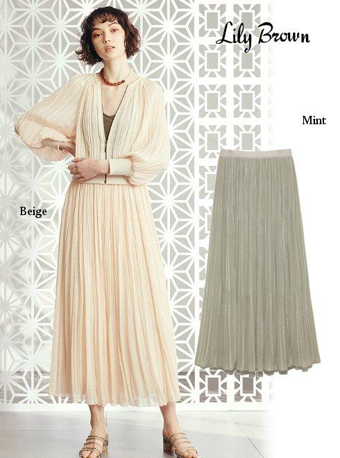 Lily Brown (リリーブラウン)<br>ジャガードプリーツスカート  20春夏.【LWFS202038】フレアスカート  20es