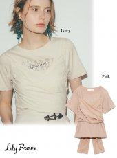 Lily Brown (リリーブラウン)<br>ビスチェドッキングロゴTシャツ  20春夏.【LWCT202061】Tシャツ 20es
