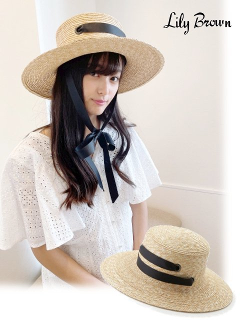 Lily Brown (リリーブラウン)<br>ダブルリボンムギハット  20春夏.【LWGH202314】帽子 20es