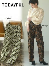 TODAYFUL (トゥデイフル)<br>Jacquard Slit Trousers  20秋冬予約2【12020706】パンツ