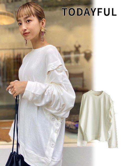 TODAYFUL (トゥデイフル)<br>Asymmetry Button Long T-Shirts  20秋冬【12020604】Tシャツ