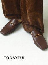 TODAYFUL (トゥデイフル)<br>Leather Slide Loafers  20秋冬【12021022】フラットシューズ