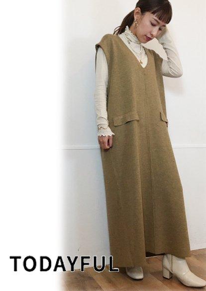 TODAYFUL (トゥデイフル)<br>Vneck Knit Dress  20秋冬【12020314】 マキシワンピース  20fs