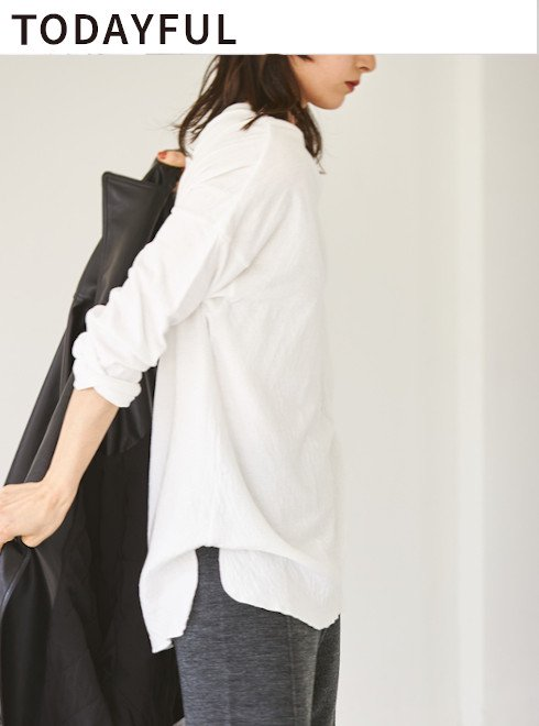 TODAYFUL (トゥデイフル)<br>Doubleface Slit Long T-Shirts  20秋冬予約3【12020607】Tシャツ