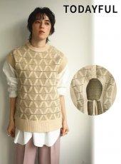 TODAYFUL (トゥデイフル)<br>Pattern Knit Vest  20秋冬【12020520】ニットトップス