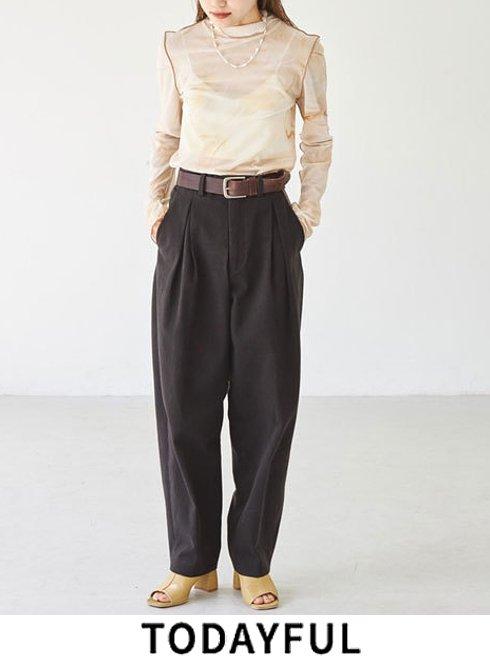 TODAYFUL (トゥデイフル)<br>Cotton Boxtuck Pants 21秋冬予約2【12020708】パンツ 入荷時期:9月中旬〜