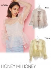 Honey mi Honey (ハニーミーハニー)<br>ribbon organdie blouse  20秋冬【20A-TA-04】シャツ・ブラウス