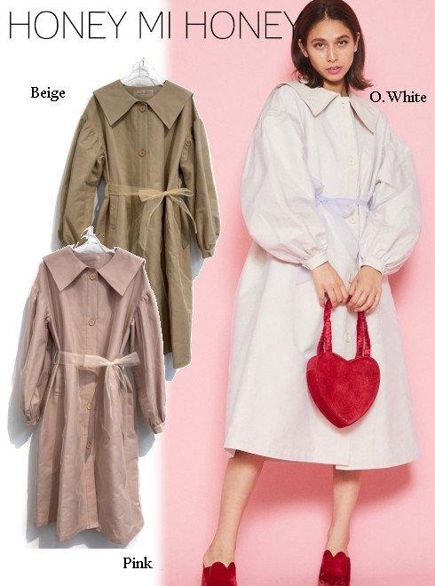 Honey mi Honey (ハニーミーハニー)<br>sailor tulle trench coat  20秋冬【20A-TA-25】トレンチコート 20fs