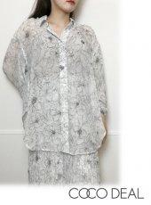 COCODEAL (ココディール)<br>アートフラワープリントシフォンボリュームシャツ  20秋冬【70518520】シャツ・ブラウス