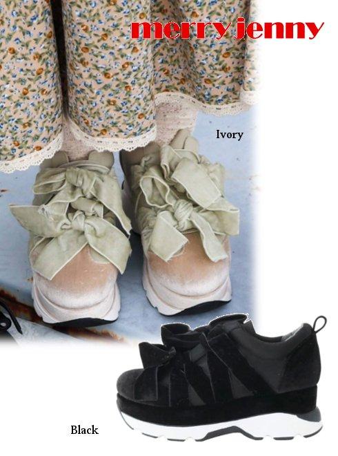 merry jenny (メリージェニー)<br>ベロアダブルリボンスニーカー  20秋冬 【282041800501】スニーカー 20fs