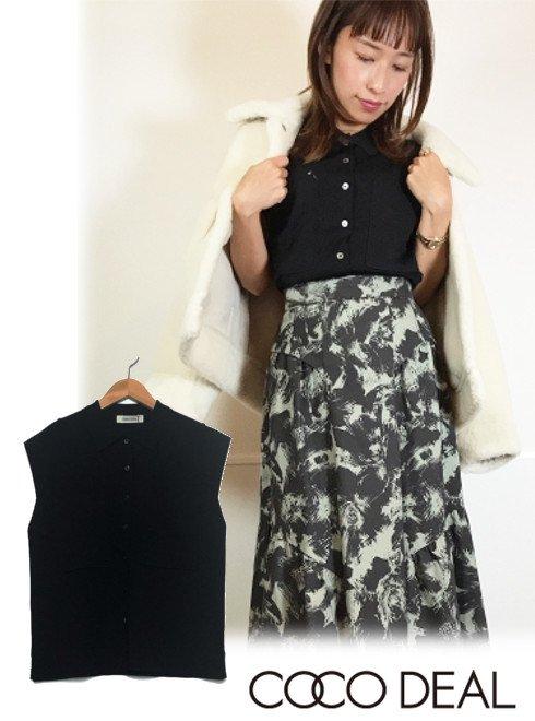 COCODEAL (ココディール)<br>ノースリーブシャツデザインニット  20秋冬【70531042】タンクトップ・ノースリーブトップス 20fs