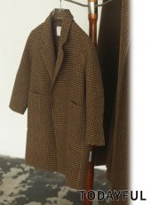 TODAYFUL (トゥデイフル)<br>Over Check Coat (KIDS)  20秋冬.予約【32020001】ウールコート 冬受注会 入荷予定 : 10月中旬〜