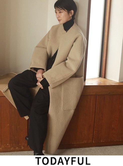 TODAYFUL (トゥデイフル)<br>Collarless Boa Coat  21秋冬.予約2【12020006】ファー・ムートン ※入荷時期:11月中旬〜