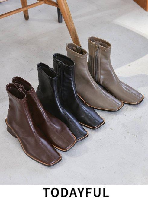 TODAYFUL (トゥデイフル)<br>'Stretch Leather Boots' 21秋冬.予約3 【12021029】ブーツ 入荷時期:11月中旬~