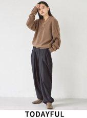 TODAYFUL (トゥデイフル)<br>Finewool Tuck Trousers  20秋冬.予約【12020714】パンツ 冬受注会 入荷予定 : 12月中旬〜