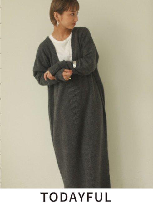 TODAYFUL (トゥデイフル)<br>Raccoon Knit Dress  21秋冬.予約2【12020324】マキシワンピース 入荷時期:12月中旬~