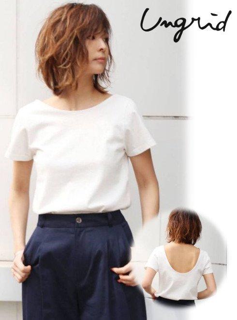 Ungrid (アングリッド)<br>バックオープンTee  20秋冬【112042726401】Tシャツ