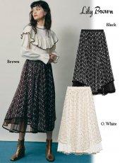 Lily Brown (リリーブラウン)<br>チュール刺繍スカート  20秋冬予約【LWFS204016】フレアスカート