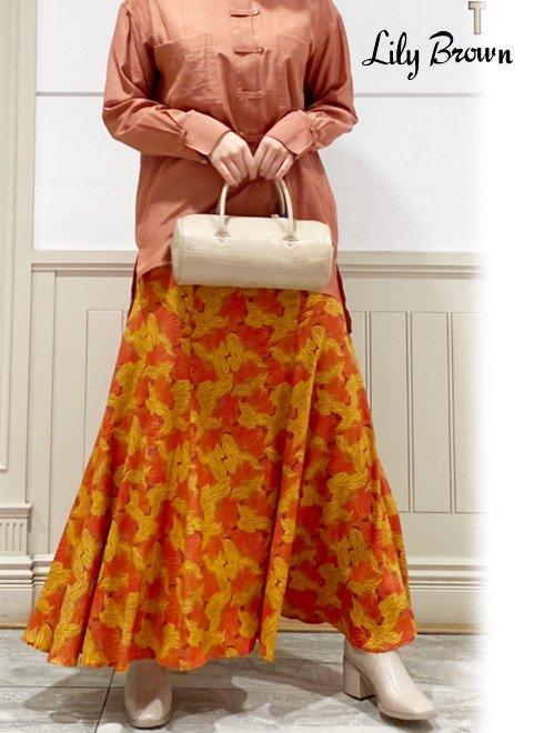 Lily Brown (リリーブラウン)<br>パネル切替花柄ロングスカート  20秋冬【LWFS204076】ロング・マキシスカート 20fs