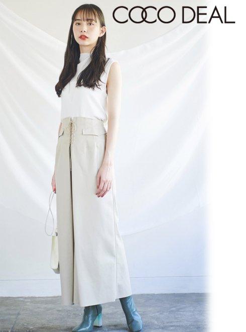 COCODEAL (ココディール)<br>エコレザーロングスカート  20秋冬【70617184】ロング・マキシスカート