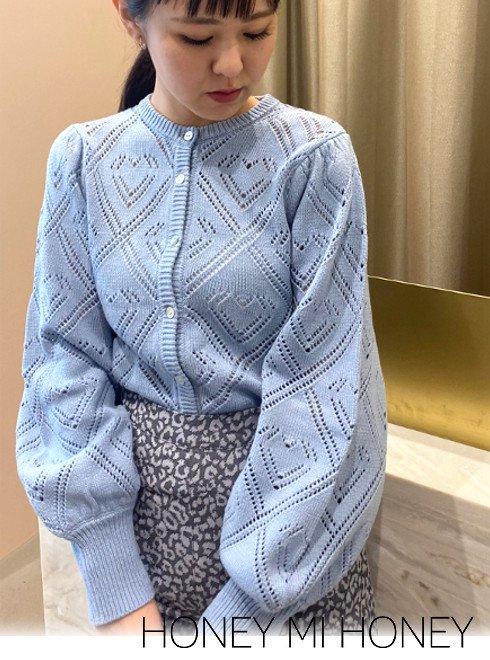 Honey mi Honey (ハニーミーハニー)<br>heart crochet cardigan  20秋冬.【20A-SW-05】カーディガン