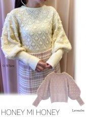 Honey mi Honey (ハニーミーハニー)<br>volume puffsleeve knit  20秋冬.【20A-SW-06】ニットトップス