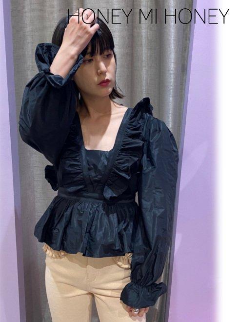Honey mi Honey (ハニーミーハニー)<br>taffeta blouse  20秋冬.【20A-TA-38】シャツ・ブラウス 20fs