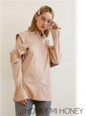 Honey mi Honey (ハニーミーハニー)<br>suede frill blouse  20秋冬.【20A-TA-60】シャツ・ブラウス